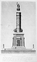 0129987 © Granger - Historical Picture ArchiveFORT MCHENRY MEMORIAL.   Design for a monument in Baltimore, Maryland, honoring defenders of the city who fell during the Battle of Fort McHenry, 14 August 1814. Line engraving, American, 1815.