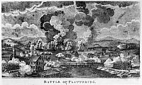 0130018 © Granger - Historical Picture ArchiveWAR OF 1812: PLATTSBURGH.   American and British forces at the Battle of Plattsburgh (Lake Champlain), 11 September 1814. Etching, English, early 19th century.