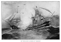 0619908 © Granger - Historical Picture ArchiveWAR OF 1812: NAVAL BATTLE.   The defeat and capture of HMS Macedonian by USS United States under the command of Captain Stephen Decatur, 25 October 1812. Engraving, 1892.