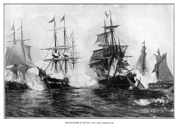 0619954 © Granger - Historical Picture ArchiveWAR OF 1812: NAVAL BATTLE.   The Battle of Plattsburgh on Lake Champlain, with focus on the exchange between the USS Saratoga and the HMS Confiance, 11 September 1814. Engraving, 1884.
