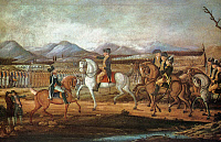 0185336 © Granger - Historical Picture ArchiveWHISKEY REBELLION, 1794.   President Washington at Fort Cumberland, Maryland, sending troops to put down the Whiskey Rebellion, 1794. Oil painting, c1795, attributed to Frederick Kemmelmeyer.