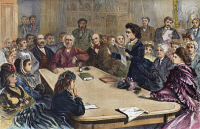 0011127 © Granger - Historical Picture ArchiveVICTORIA CLAFLIN WOODHULL   (1838-1927). American reformer. Victoria Claflin Woodhull reading her argument in favor of women's suffrage before the Judiciary Committee of the House of Representatives in 1871. Directly behind Mrs. Woodhull is Elizabeth Cady Stanton and at the extreme left is Susan B. Anthony.