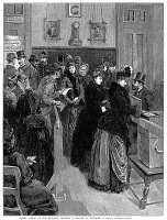 0015464 © Granger - Historical Picture ArchiveWOMEN VOTING, 1888.   'Women Voting At Election In Boston On December 11.'  The municipal election in Boston, Massachusetts on 11 December 1888. Wood engraving.