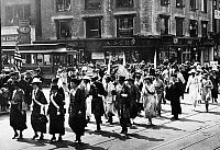 0129403 © Granger - Historical Picture ArchiveVICTORY PARADE, 1920.   Suffragettes marching in a Victory Parade in New York, probably celebrating the passing of the 19th Amendment, 1920.