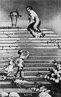 0166997 © Granger - Historical Picture ArchiveWOMEN'S RIGHTS: CARTOON.   Cartoon showing a woman approaching stairs leading to the trophy 'Fame,' labelled 'Loneliness,' 'Anxiety,' 'Suffrage' and 'Career,' as she looks back at children standing on lower steps labelled 'Home,' 'Children,' 'Marriage' and 'Love.' Cartoon by Laura E. Foster, c1912.