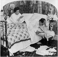0167007 © Granger - Historical Picture ArchiveCOUPLE IN BED, c1907.   A woman talking to her husband, who holds his head over a bedpan, with the caption, 'I tell you Woman's Suffrage would strengthen the solar plexus of the world.' American stereograph, c1907.