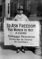 0326110 © Granger - Historical Picture ArchiveSUFFRAGIST, 1917.   An American suffragist protesting the imprisonment of fellow suffragists. Photograph, 1917.