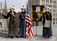 0527932 © Granger - Historical Picture ArchiveSUFFRAGETTES, c1913.   Rosalie Jones, Jessie Stubbs, and Colonel Ida Craft promoting the Woman Suffrage Mass Meeting on the roof of the Brooklyn Academy of Music.   Photograph, c1910.