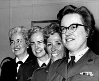 0528533 © Granger - Historical Picture ArchiveMILITARY PERSONNEL, 1968.   Captain Rita Lenihan, director of the United States Naval Women's Reserve (WAVES); Colonel Elizabeth Holsington, Director of the Women's Army Corps; Colonel Jeanne Holm, Director of Women in the Air Force; and Colonel Jeanette Sustad, Director of the Women Marines. Photograph, 1968.