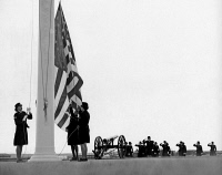 0528536 © Granger - Historical Picture ArchiveWOMEN MARINES, 1968.   Women Marines raising the flag at Marine Corps Base Camp Pendleton in California. Photograph, February 1968.