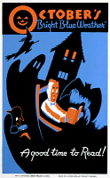 0409523 © Granger - Historical Picture ArchiveA GOOD TIME TO READ, c1938.   Poster for the Works Progress Administration statewide library project, showing a boy reading a book surrounded by images of Halloween. Poster illustrated by Albert M. Bender, c1938.