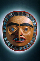 0025462 © Granger - Historical Picture ArchivePACIFIC NW NATIVE AMERICAN ART.   Haida Native American painted wood and abalone Frontlet from British Columbia, Canada.