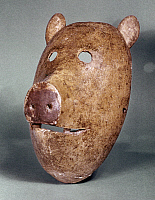 0120155 © Granger - Historical Picture ArchiveNEW YORK: TUSCARORA MASK.   False Face mask in the shape of a pig or a bear, made by the Tuscarora tribe of New York.