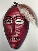 0120196 © Granger - Historical Picture ArchiveSENECA FALSE FACE MASK.   Carved wooden False Face 'Scalp Mask,' used in rituals by the Seneca tribe of New York.