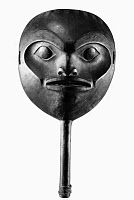0120735 © Granger - Historical Picture ArchiveTSIMSHIAN RATTLE.   Wood and leather rattle in the shape of a face, made by the Tsimshian tribe of British Columbia, Canada.