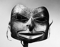 0174443 © Granger - Historical Picture ArchiveNATIVE AMERICAN MASK.   Painted wooden mask from British Columbia, Canada, possibly Inland Tlingit, 19th century. Height: 6 1/2 in.