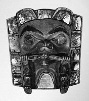 0174451 © Granger - Historical Picture ArchiveNATIVE AMERICAN FRONTLET.   Carved and painted wooden frontlet with abalone shell inlay, representing a beaver. Niska, from the Nass River Valley in British Columbia, Canada, c1875, collected by Lieutenant George T. Emmons. Height: 7 1/2 in.