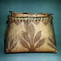 0175066 © Granger - Historical Picture ArchiveNATIVE AMERICAN BASKET.   Birchbark basket of the Algonquian Native Americans of eastern North America, known as a makak, with scraped floral designs.