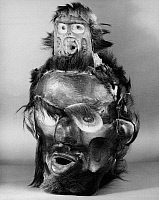 0175260 © Granger - Historical Picture ArchiveKWAKIUTL MASK.   Carved wooden mask with fur representing Tsonoqua, the Wild Woman of the Woods. Kwakiutl, from British Columbia, Canada.