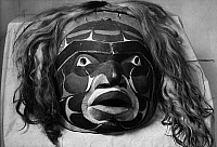 0175261 © Granger - Historical Picture ArchiveKWAKIUTL MASK.   Painted wooden mask representing Tsonoqua, the Wild Woman of the Woods. Nuxalk (Bella Coola), from British Columbia, Canada.