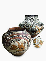 0175309 © Granger - Historical Picture ArchivePUEBLO POTTERY.   Pueblo Native American pottery with painted designs, from Acoma Pueblo, New Mexico.