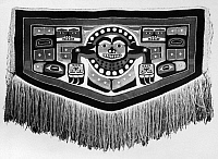 0175369 © Granger - Historical Picture ArchiveALASKA: CHILKAT BLANKET.   Chilkat dancing blanket with octopus design, made of mountain sheep wool and cedar bark fiber. Tlingit, southeastern Alaska, c1900. Length: 72 in.