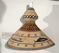 0175419 © Granger - Historical Picture ArchiveNOOTKA HAT.   Conical chief's hat of the Nootka Native Americans of the Pacific Northwest, with woven geometric designs and whale hunting scene.