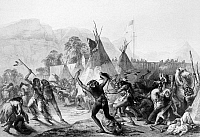 0027981 © Granger - Historical Picture ArchiveFORT McKENZIE, 1833.   Native Americans fighting at the American Fur Company's Fort McKenzie on the Marias River, Montana, 28 August 1833. Aquatint engraving, 1844, after Karl Bodmer.