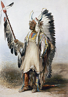 0045708 © Granger - Historical Picture ArchiveBODMER: MANDAN CHIEF.   Mah-to-toh-pa, or Four Bears. Watercolor, 1832-34, by Karl Bodmer.