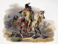 0172548 © Granger - Historical Picture ArchiveBODMER: BLACKFOOT HORSEMAN.   A Blackfoot Native American man riding on horseback at Fort McKenzie, Montana. Aquatint engraving, c1844, after a drawing, 1833, by Karl Bodmer.