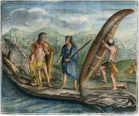 0007965 © Granger - Historical Picture ArchiveBIRCHBARK CANOE, 1738.   Canadian Native Americans with a birchbark canoe. Color engraving, 1738.