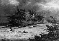 0173014 © Granger - Historical Picture ArchiveKRIEGHOFF: CANOE ON RAPIDS.   Native Americans running a rapid in a canoe in the Canadian wilderness. Oil on canvas, 1855, by Cornelius Krieghoff.