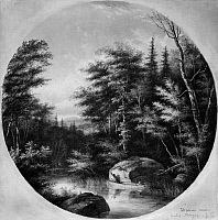 0173016 © Granger - Historical Picture ArchiveKRIEGHOFF: CANOE ON STREAM.   Two Native Americans in a canoe, stalking a deer on a stream near Lake Magog, Quebec, Canada. Oil on canvas, 1867, by Cornelius Krieghoff.