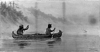 0173018 © Granger - Historical Picture ArchiveVERNER: CANOE ON RIVER.   Two Native Americans paddling a canoe in the Canadian wilderness. Graphite and watercolor on paper, 1899, by Frederick Arthur Verner.