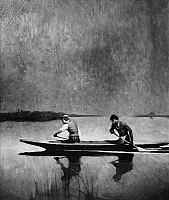 0174645 © Granger - Historical Picture ArchiveSCHOONOVER: CANOE.   'The Flamingo Trail.' A European and a Native American paddling a dugout canoe in the Florida Everglades. Oil on canvas, 1928, by Frank E. Schoonover.