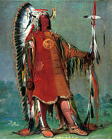 0025893 © Granger - Historical Picture ArchiveCATLIN: MANDAN CHIEF, 1832.   Mah-to-toh-pa, or Four Bears, chief of the Missouri River Mandans. Canvas, 1832, by George Catlin.