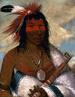 0025901 © Granger - Historical Picture ArchiveCATLIN: SIOUX CHIEF, 1835.   Wa-nah-de-tuncka, Big Eagle commonly called Black Dog, Eastern Sioux. Canvas, 1835, by George Catlin.