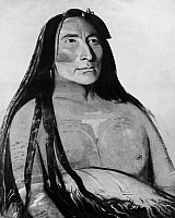 0124329 © Granger - Historical Picture ArchiveCATLIN: MANDAN CHIEF, 1832.   Mah-to-toh-pa, or Four Bears, a Mandan chief. Oil on canvas by George Catlin, 1832.