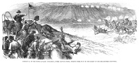 0034454 © Granger - Historical Picture ArchiveWHITE RIVER ATTACK, 1879.   Company D of the Ninth Colored Cavalry coming to the rescue of a cavalry detachment under attack by Ute Native Americans near the White River Agency, Colorado, on 1 October 1879. Wood engraving from a contemporary newspaper.