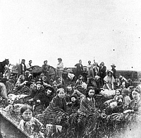 0065334 © Granger - Historical Picture ArchiveSIOUX UPRISING, 1862.   Settlers in flight from Sioux Native American massacres at rest on the prairie in Minnesota. Photographed in 1862.