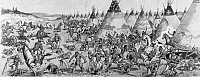 0174653 © Granger - Historical Picture ArchiveGRATTAN MASSACRE, 1854.   A highly inaccurate depiction of the massacre of U.S. Army troops under the command of Lieutenant John Lawrence Grattan at a Lakota Sioux encampment near Fort Laramie, Nebraska Territory (present-day Wyoming), 19 August 1854, an event known as the Grattan Massacre. Illustration by Lewis Rothe (1875-1951).