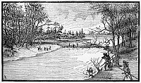 0174657 © Granger - Historical Picture ArchiveSPIRIT LAKE MASSACRE, 1857.   After being taken prisoner during the Spirit Lake Massacre in northern Iowa, Mrs. Elizabeth Thatcher is drowned in the Big Sioux River in eastern South Dakota by her Santee Sioux captors, April 1857. Wood engraving, American, c1885.