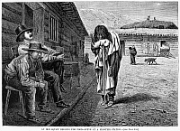 0053373 © Granger - Historical Picture ArchiveFRONTIER STATION: BEGGAR.   An old Native American woman begging for food at a frontier station in the American West. Wood engraving, American, 1876, after William de la Montagne Cary.