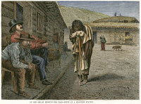 0053374 © Granger - Historical Picture ArchiveFRONTIER STATION: BEGGAR.   An old Native American woman begging for food at a frontier station in the American West. Wood engraving, American, 1876, after William de la Montagne Cary.