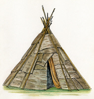 0057659 © Granger - Historical Picture ArchiveNATIVE AMERICAN WIGWAM.   The conical wigwam of the Ojibwa Native Americans, consisting of a framework of poles covered with sheets of birch bark. Drawing by C.W. Jefferys.
