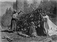 0113835 © Granger - Historical Picture ArchiveMEAT PREPARATION, c1910.   Two Flathead women of the Pacific Northwest drying meat on a stick frame. Photograph by Edward Curtis, c1910.
