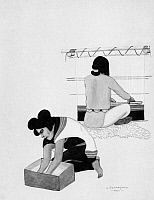 0173423 © Granger - Historical Picture ArchiveHOPI ART: COUPLE.   A Hopi bride and groom performing traditional pre-marriage tasks (making piki bread and weaving on a loom). Watercolor, c1960, by Leroy Kewanyama, a Hopi artist of Shungopavi, Arizona.