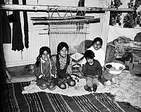 0259110 © Granger - Historical Picture ArchiveARIZONA: NAVAJO FAMILY.   The children of Navajo Rose Yazzie. Left to right: Emily Ann, Clara, Stella and Jerry van Winkle. Photographed inside their hogan at Canyon de Chelly National Monument in Arizona, by Fred Mang, Jr., c1965.