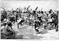 0089531 © Granger - Historical Picture ArchiveSIOUX GHOST DANCE, 1890.  'The Ghost Dance of the Sioux Indians in North America.' Line engraving, English, after Amédéé Forestier, 1891.