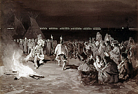 0172738 © Granger - Historical Picture ArchiveFARNY: CROW DANCE, c1883.   Crow Native Americans performing a dance by a campfire, before an audience consisting partly of white visitors (right), as a train passes by in the distance. Gouache and watercolor on paperboard, c1883, by Henry F. Farny.